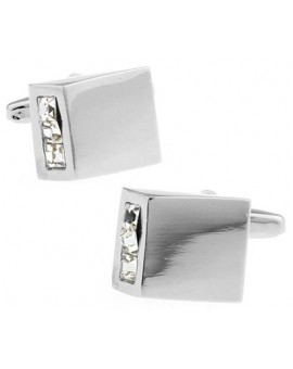 White Crystal Wedge Cufflinks