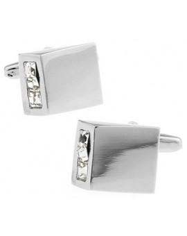 White Crystal Wedge Cufflinks