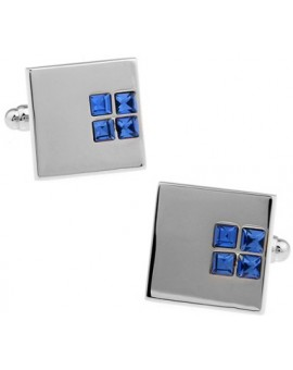 Blue Crystal Square Cufflinks