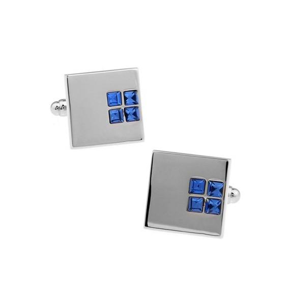 Blue Crystal Square Cufflinks