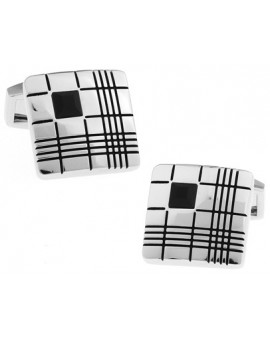 Black Crystal Ribbed Square Cufflinks