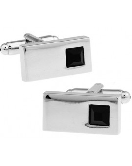 Black Crystal Rectangle Cufflinks