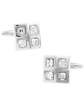 White Checkered Cufflinks