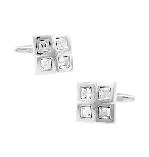 White Checkered Cufflinks