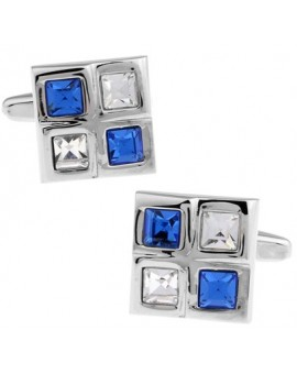 Blue and White Checkered Cufflinks