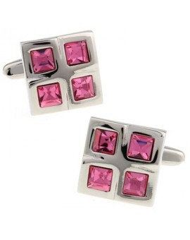 Pink Checkered Cufflinks