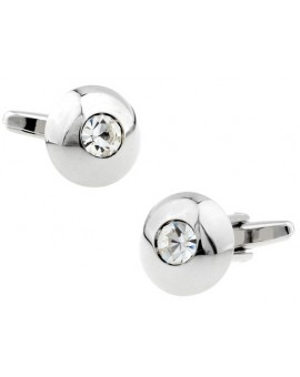 White Crystal Round Cufflinks