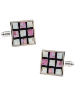 Pink Onyx Checker Cufflinks