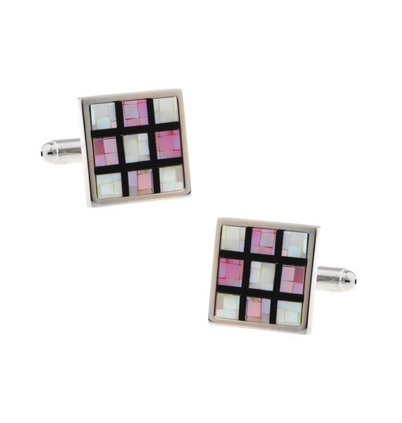 Pink Onyx Checker Cufflinks