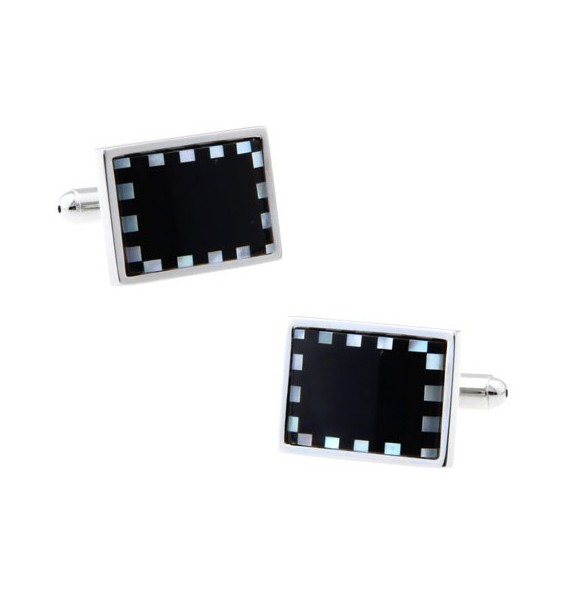 Onyx and Mother of Pearl Rectangle Cufflinks