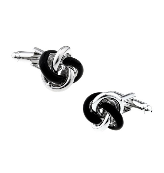 Black and Plated Knot Cufflinks