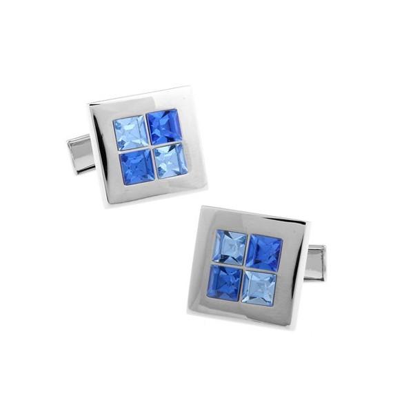 Blue and Light Blue Checkered Cufflinks
