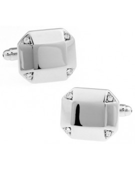 White Crystal Octagon Cufflinks
