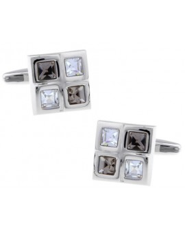 Grey and White Checkered Cufflinks