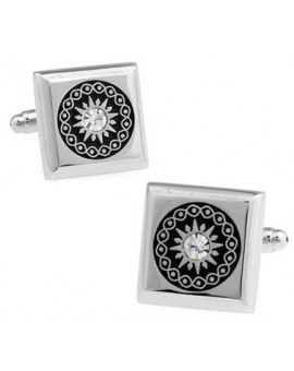 White Crystal Filigree Cufflinks