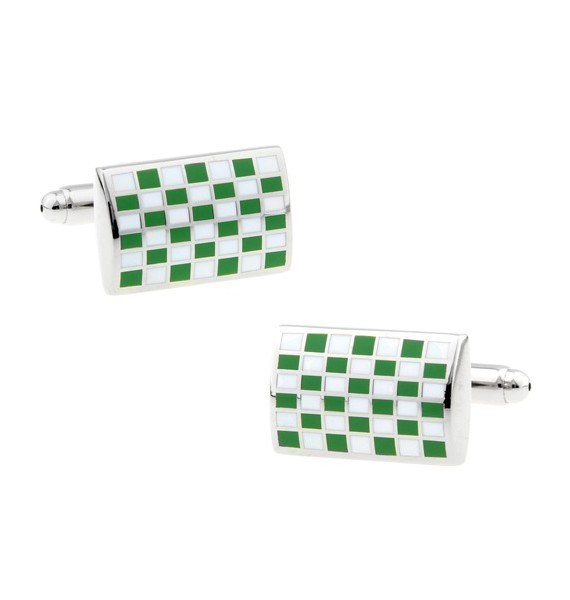 Green Checkerboard Cufflinks