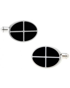 Black and Silver V Cufflinks