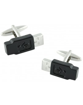 Black USB Cufflinks