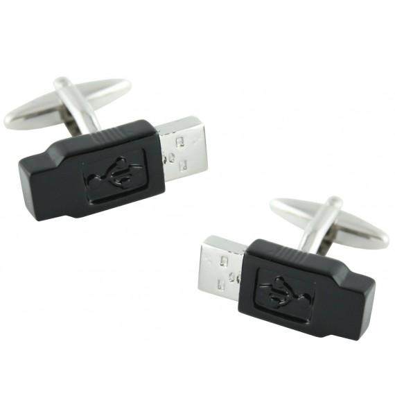 Black USB Cufflinks
