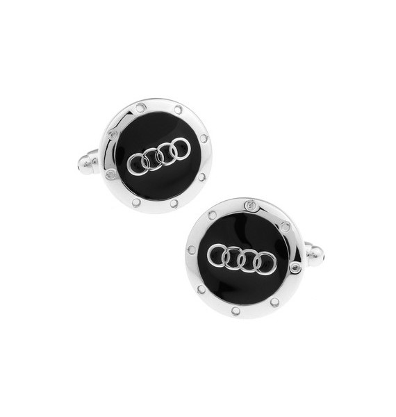 Silver and Black Audi Cufflinks