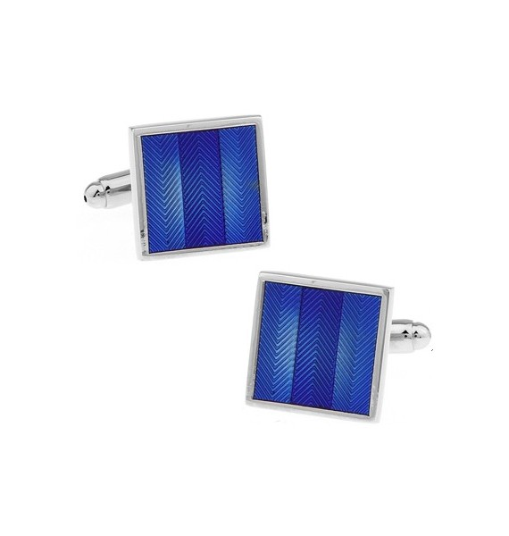 Blue Striped Square Cufflinks