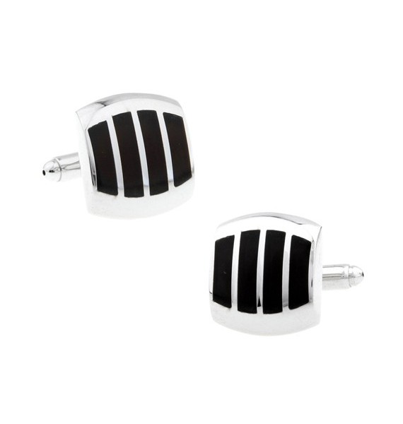 Black and Silver XV Cufflinks
