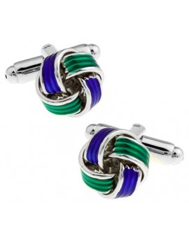 Blue and Green Knot Cufflinks