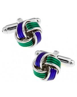 Blue and Green Knot Cufflinks