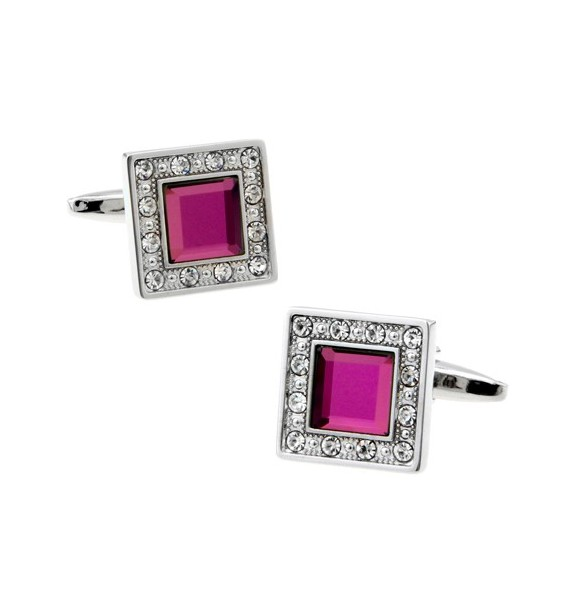 Fuchsia Crystal in White Crystal Frame Cufflinks