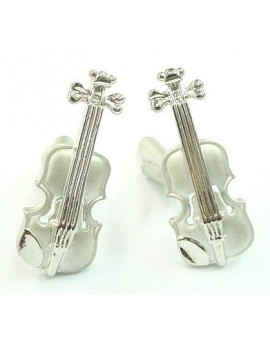 Silver Plated Violin Cufflinks