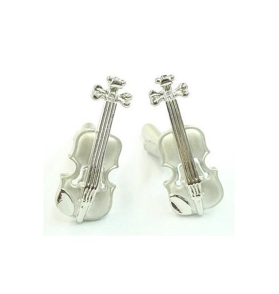 Silver Plated Violin Cufflinks
