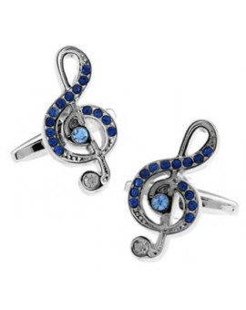 Crystal Treble Clef Cufflinks