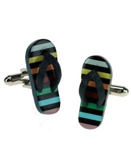 Colorful Striped Flip Flop Cufflinks