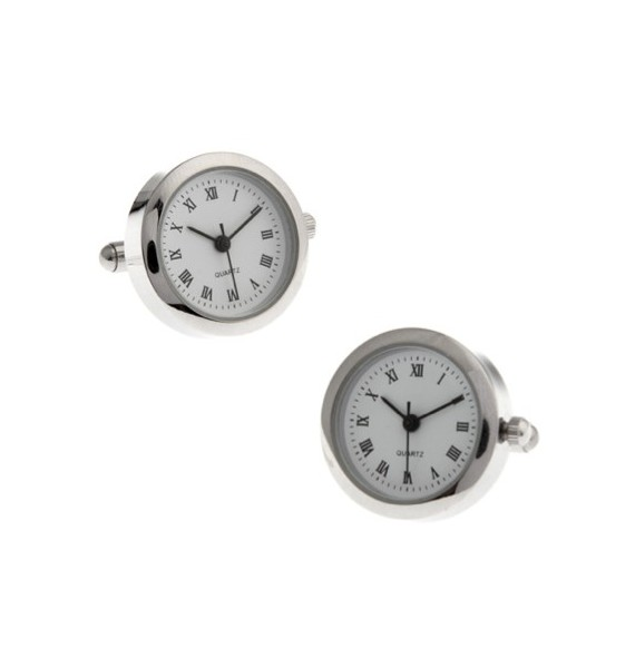 Round Silver Watch Cufflinks