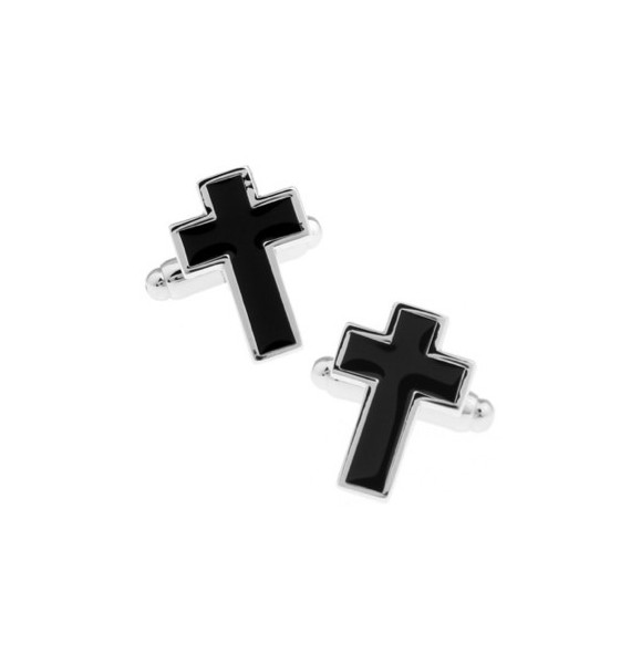 Blck Christian Cross Cufflinks