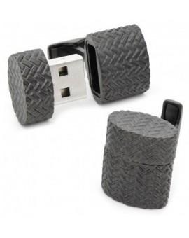 Gemelos USB 4GB Ovalado Tejido de Hierro Negro