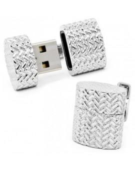 Gemelos USB 4GB Ovalado Tejido de Hierro