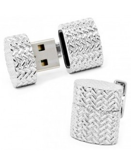 Iron Woven Oval 4GB USB Flash Drive Cufflinks