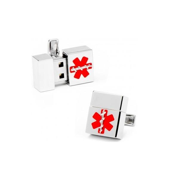 Silver Medical 8GB USB Flash Drive Cufflinks