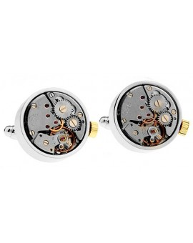 Gemelos Round Silver and Gold Watch Movement