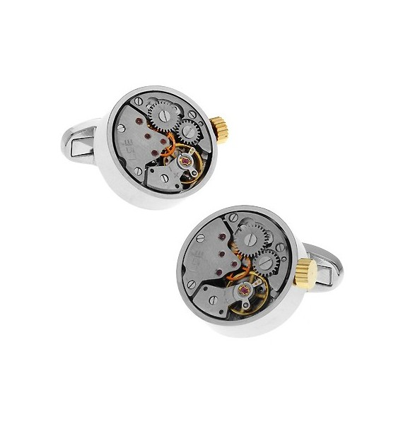 Silver and Gold Watch Movement Cufflinks