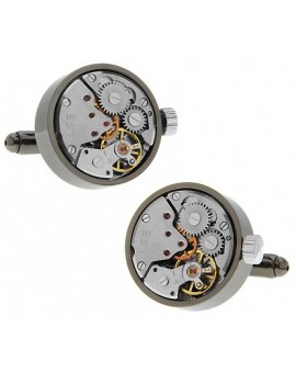 Round Gunmetal Watch Movement Cufflinks