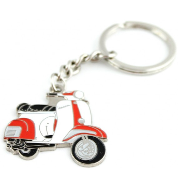 Red and White Vespa Keychain