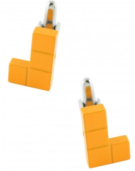 Orange Tetris Block Cufflinks