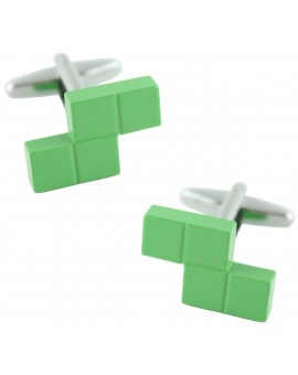 Green Tetris Block Cufflinks