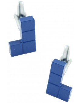 Blue Tetris Block Cufflinks