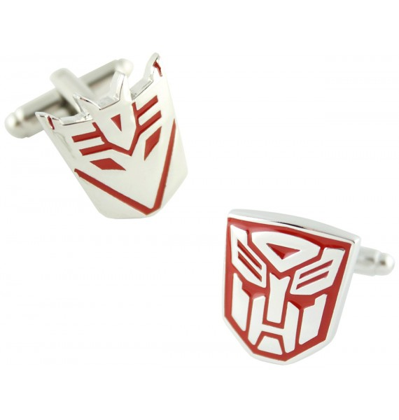 Red Autobots and Decepticons Logo Cufflinks