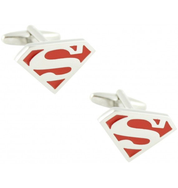 Red Superman Shield Cufflinks