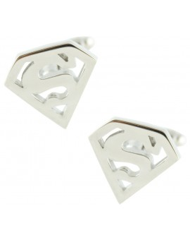 Silver Plated Superman Hollow Shield Cufflinks