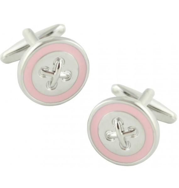 Pink Line Button Cufflinks